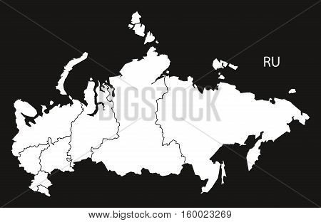 Russia districts Map black white country silhouette illustration