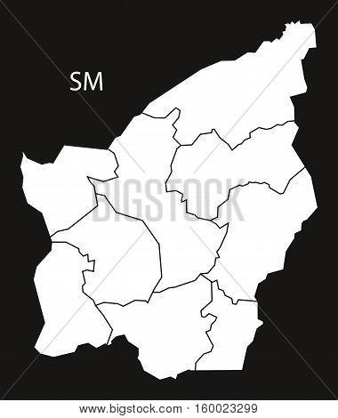 San Marino municipalities Map black white country silhouette illustration