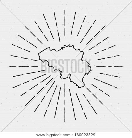 Vector Belgium Map Outline With Retro Sunburst Border. Hand Drawn Hipster Decoration Element. Black