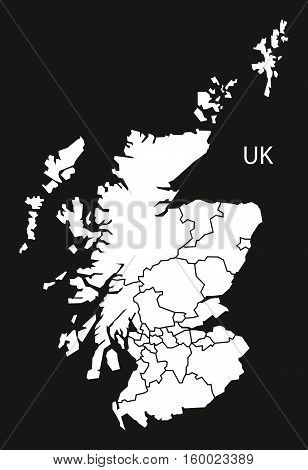 Scotland with regions Map black white country silhouette illustration
