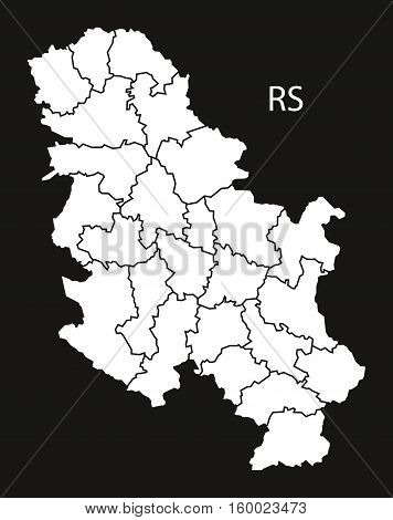 Serbia regions Map black white country silhouette illustration
