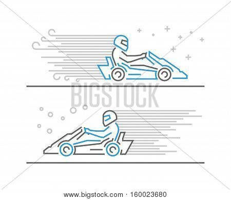 Vector line go kart symbol and icon. Modern outline karting logo.