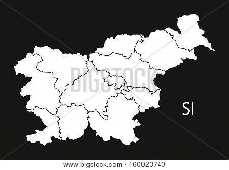 Slovenia regions Map black white country silhouette illustration