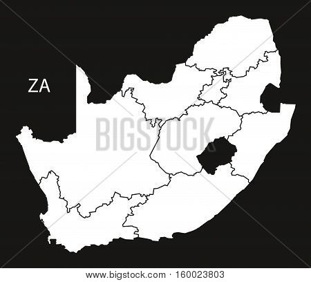 South Africa with provinces Map black white country silhouette illustration