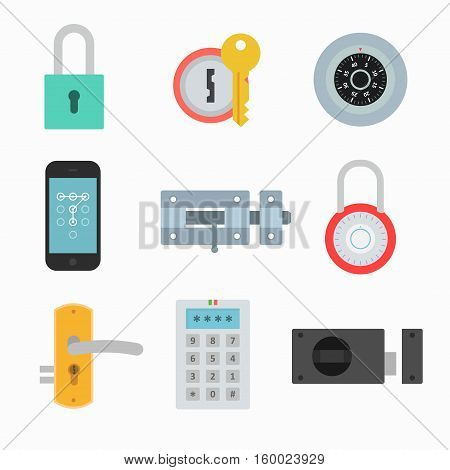 Lock icons vector set in a flat style. Signs locks to indicate the safety security and privacy. The collection of locks on doors gates walls isolated from the background.