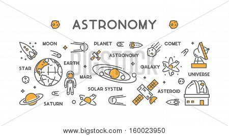 Vector line design concept for astronomy. Modern linear horizontal web banner for space. Outline background for universe.