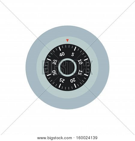Code lock to the safe vector icon in a flat style. The concept of protection safety and security. Round lock from the safe with a dial isolated from the background.