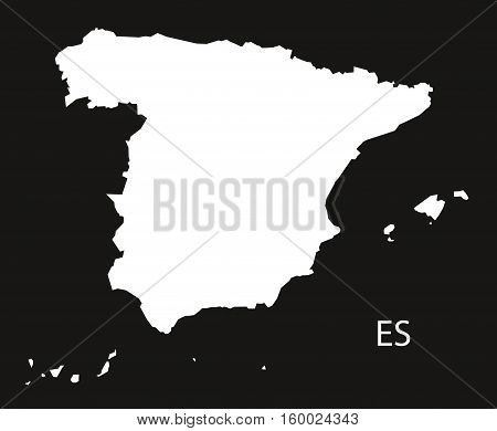 Spain Map black white country silhouette illustration