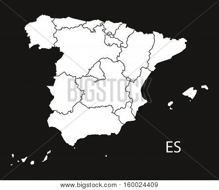 Spain with provinces Map black white country silhouette illustration