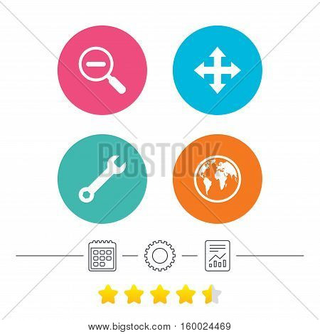 Magnifier glass and globe search icons. Fullscreen arrows and wrench key repair sign symbols. Calendar, cogwheel and report linear icons. Star vote ranking. Vector