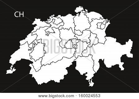Switzerland with federal states Map black white country silhouette illustration