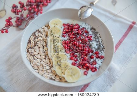 Healthy white yogurt with fruit and seeds for breakfast