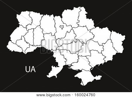 Ukraine with regions Map black white country silhouette illustration