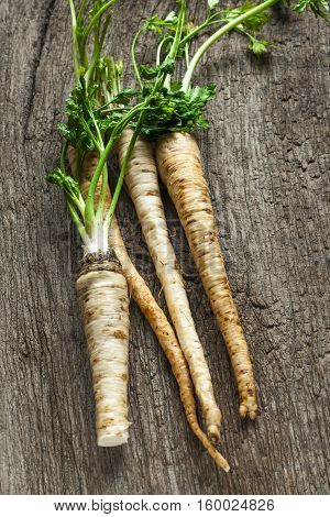 parsley root on old wooden table,  country style