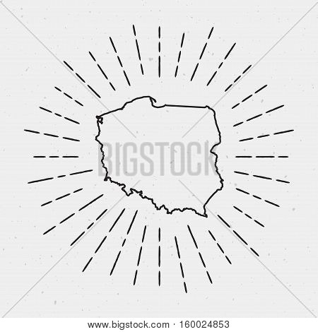 Retro Sunburst Hipster Design. Poland Map Surrounded By Vintage Sunburst Rays. Trendy Hand Drawn Sun