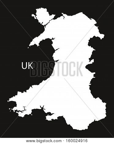 Wales Map black white country silhouette illustration
