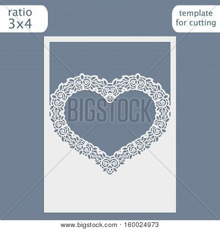 Laser cut wedding invitation card template. Cut out the paper card with lace pattern. Greeting card template for cutting plotter. Congratulations on Valentine's Day. Greeting card a heart. Vector.