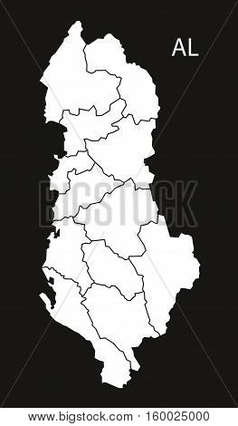 Albania regions Map black white country silhouette illustration