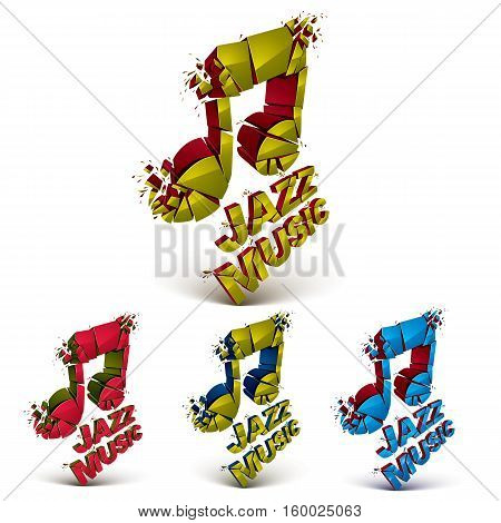 Colorful 3D Vector Musical Notes Collection Broken Into Pieces, Explosion Effect. Set Of Dimensional