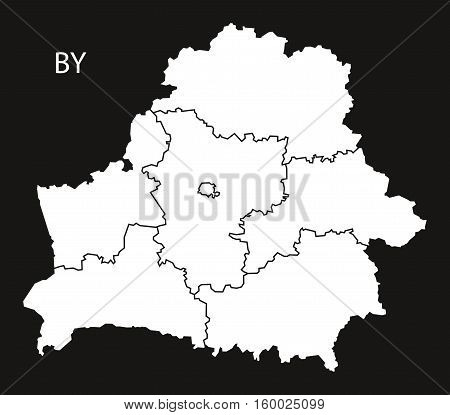 Belarus regions Map black white country silhouette illustration