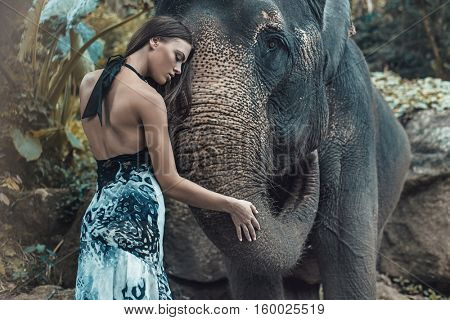 Fine art fashion image of an brunette beauty posing with an elephant