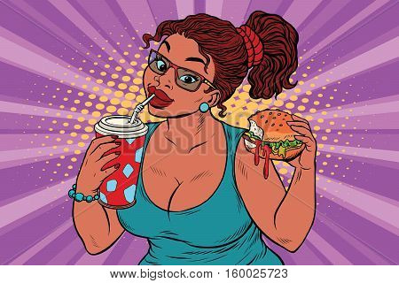 Young woman drinking Cola and eating Burger. Pop art retro illustration. Fast food restaurant. A delicious lunch. African American people