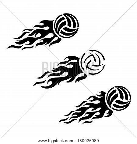 Volleyball ball flaming vector logo design template set