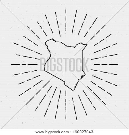 Retro Sunburst Hipster Design. Kenya Map Surrounded By Vintage Sunburst Rays. Trendy Hand Drawn Sun