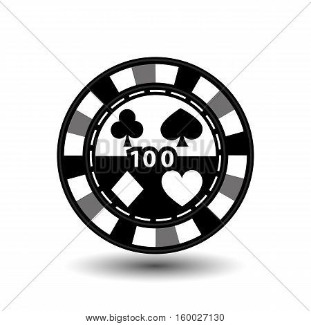 Chips For Poker Grey 100 In The Middle And Rectangles With A Side. Round And White Dotted Line Line.