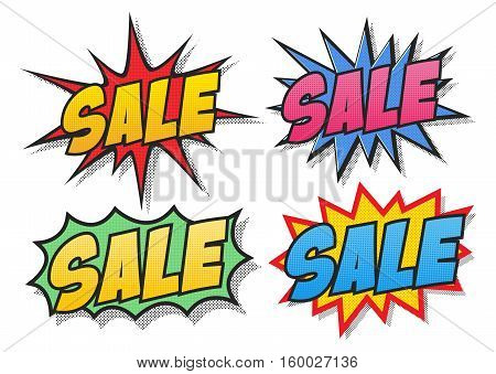 The word Sale in different bubbles in comic book style