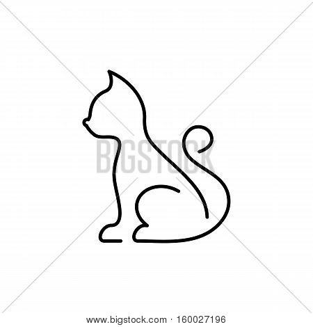 Minimalist black vector cat thin line icon isolated
