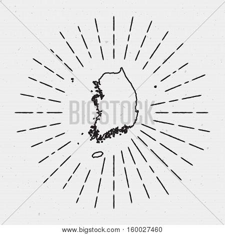 Retro Sunburst Hipster Design. Korea, Republic Of Map Surrounded By Vintage Sunburst Rays. Trendy Ha