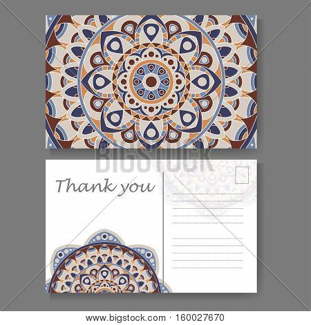 Postcard design with vintage decorative element. Template for greering card. Mandala vector illustration