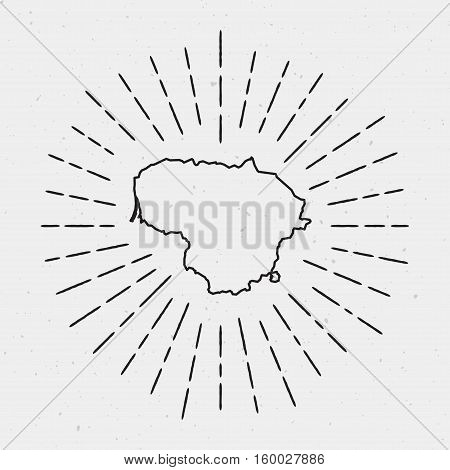 Vector Lithuania Map Outline With Retro Sunburst Border. Hand Drawn Hipster Decoration Element. Blac