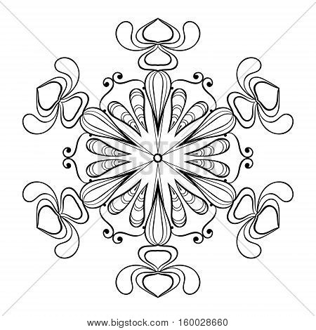 Vector snow flake in zentangle doodle style, vintage mandala for adult coloring pages. Ornamental freehand winter illustration for decoration. Christmas greeting cards, invitation template.