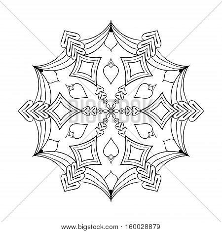 Vector paper cutout snow flake in zentangle style, doodle mandala for adult coloring pages. Ornamental winter illustration for decoration. Christmas greeting card element.