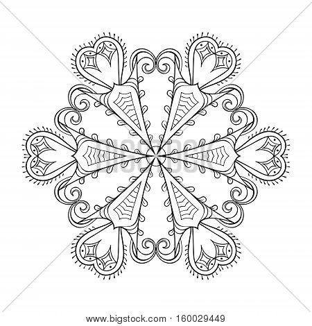 Zentangle elegant snow flake. Vector winter illustration for decoration, Christmas greeting cards, invitation template, adult coloring pages.