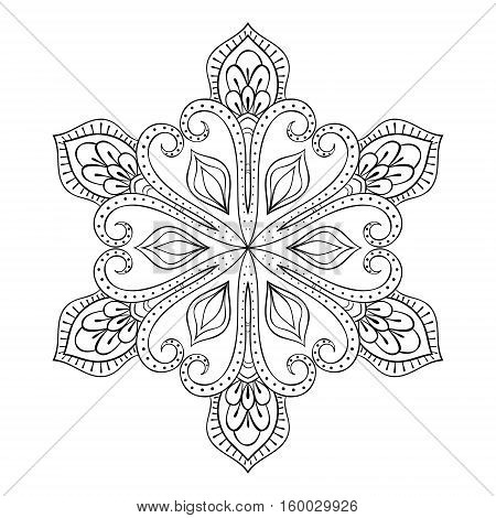 Vector snow flake in zentangle style, doodle mandala for adult coloring pages. Ornamental winter illustration for decoration, Christmas greeting cards, invitation template.