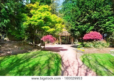 Tacoma, Wa - April 14, 2014: Japanese Garden In Point Defiance Park.