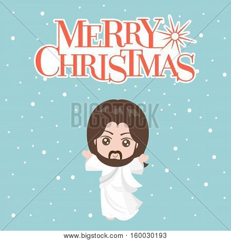 Jesus christ in white clothes and merry christmas typographic with snowing background, flat design vector for christmas holiday