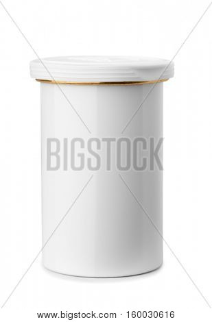 Medical metal blank jar isolated on white