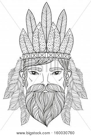 Vector zentangle Portrait of Man with Mustache, beard, war bonnet with feathers for adult coloring pages, tattoo art, ethnic patterned t-shirt print.