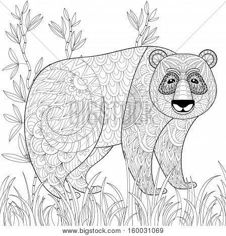 Big Panda with bamboo in zentangle, tribal style. Freehand ethnic sketch for adult antistress coloring page, book. Ornamental artistic vector illustration for tattoo, t-shirt print. Animal collection.