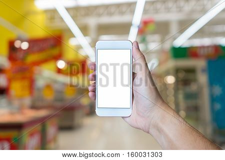 Man's Hand Shows Mobile Smartphone With White Screen In Vertical Position