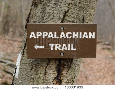 A trail sign directing hikers onto the Appalachian Trail.