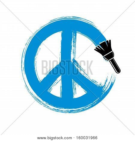 Hand-drawn vector peace sign antiwar symbol from 60s made with brushstrokes. Hippie theme art icon created with paintbrush.