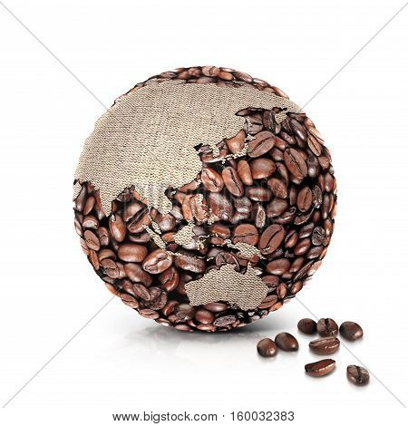 coffee world 3D illustration asia and australia map on white background