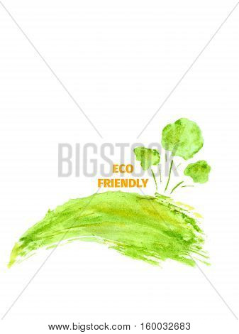 Silhouette of a tree, land, lawn, drawn by hand with watercolors splash and drops.. The concept of ecology, eco-Friendly. Think green concept. Suitable for natural cosmetics, eco products, labels, advertising.