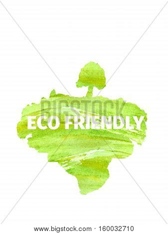 Silhouette of a tree, land, lawn, drawn by hand with watercolors splash and drops. The concept of ecology, eco-Friendly. Think green concept. Suitable for natural cosmetics, eco products, labels, advertising.