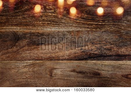 Dark Wooden wall background horizontal with bokeh for a concept